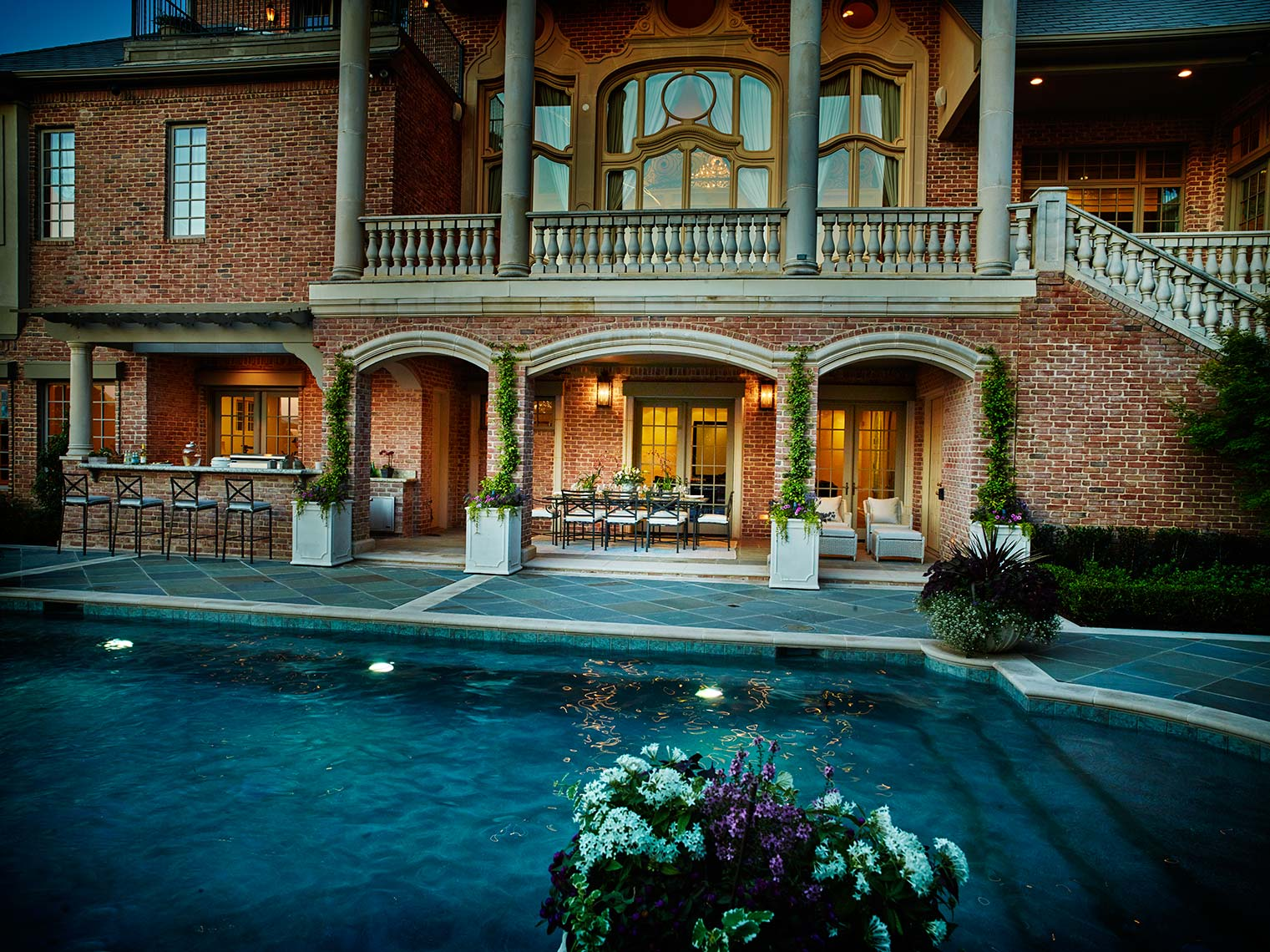 architecture and design in balconies and pool areas.