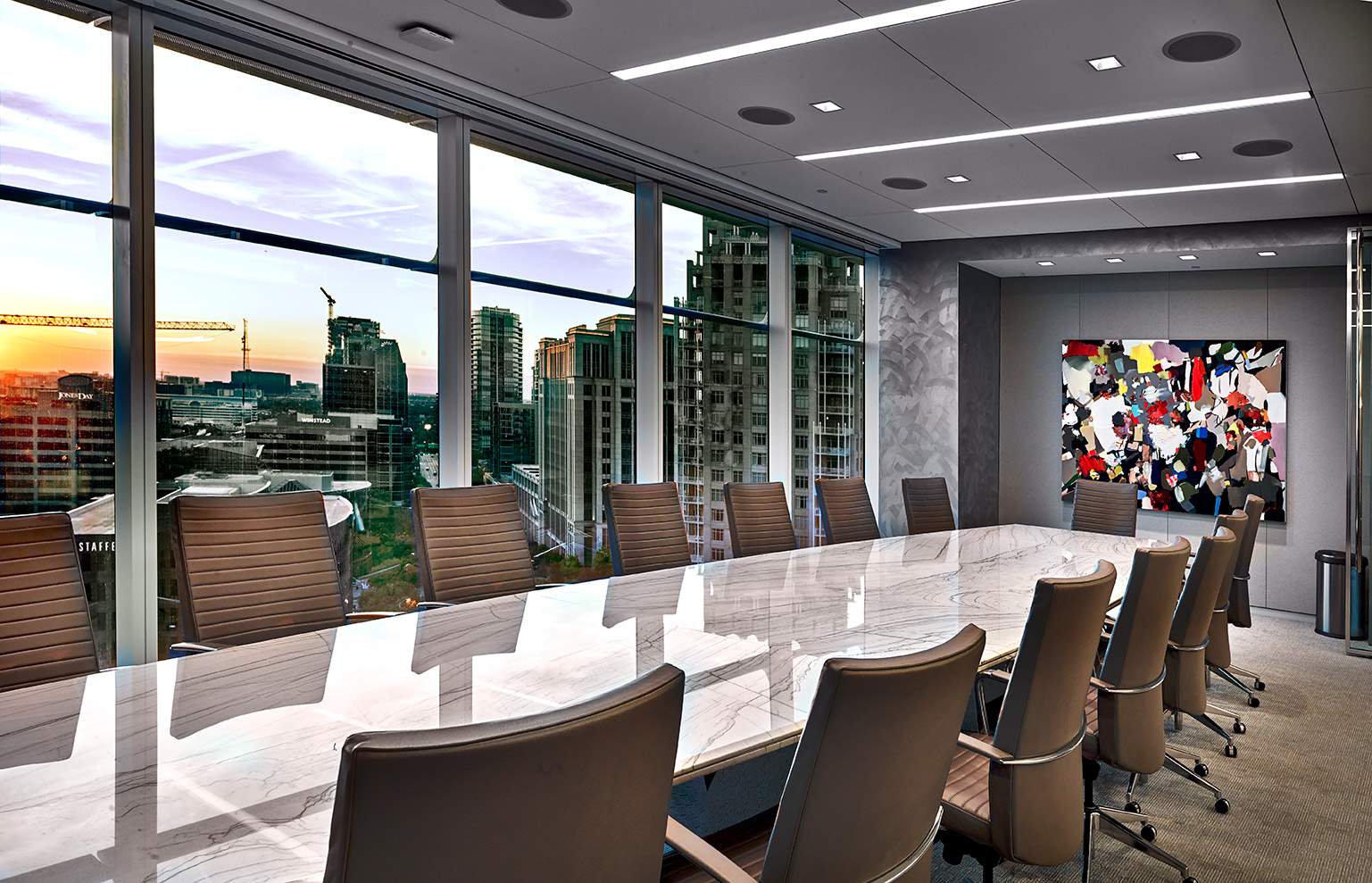board room of Trive Capital overlooking downtown Dallas