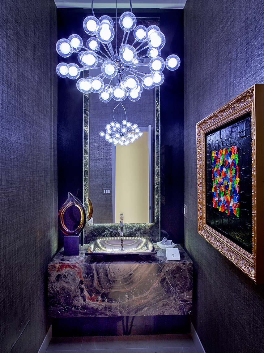 ultra modern powder room with onyx base cabinet